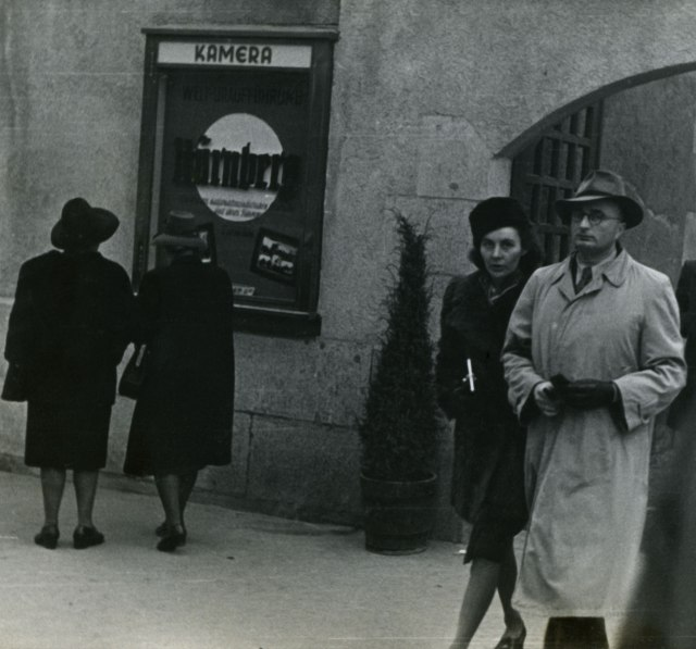 "German moviegoers in 1948 leaving the Kamera theatre in Stuttgart after seeing ""Nuremberg"" (Schulberg Family Archive)"