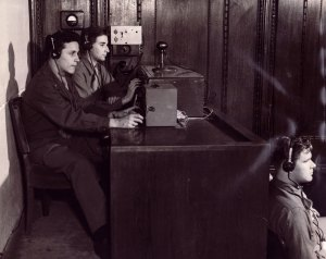 Audio technicians recording the Nuremberg Trial