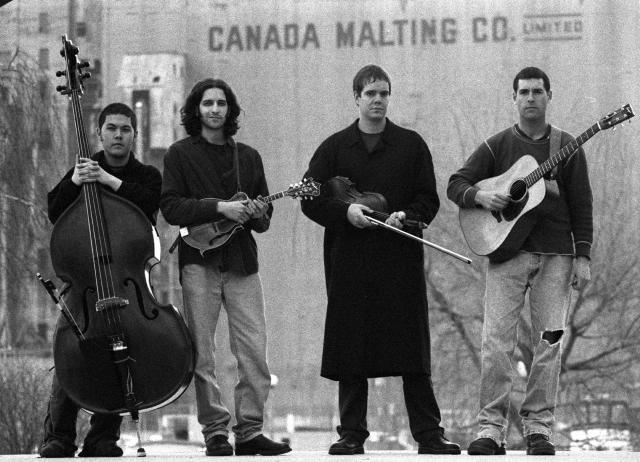 The Creaking Tree String Quartet: (L to R) Brian Kobayakawa (bass), Andrew Collins (mandolin), John Showman (fiddle) and Brad Keller (guitar) (photo by Peter Moynes)