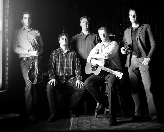 The Foggy Hogtown Boys (L to R) Andrew Collins (mandolin), Max Heineman (bass), Chris Quinn (banjo), Chris Coole (guitar) and John Showman (fiddle)