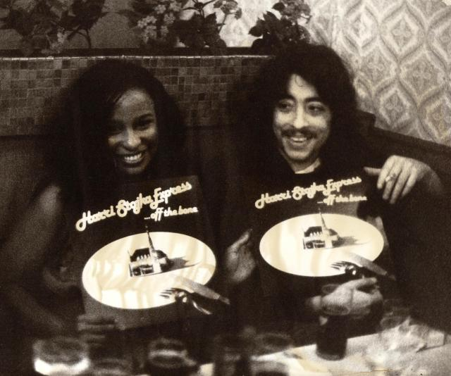 "R&B singer Chaka Khan and Harri display the 1980 Harri Stojka Express album ""Off the Bone"""