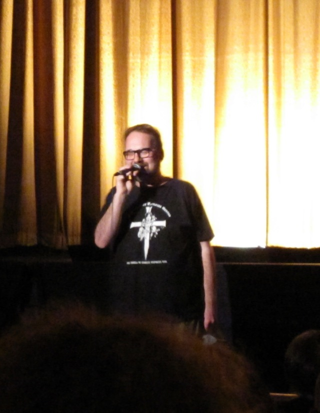 """Demarbre speaking at the 10th anniversary screening of """"Jesus Christ Vampire Hunter"""" on March 25, 2011 at Ottawa's Mayfair Theatre"""
