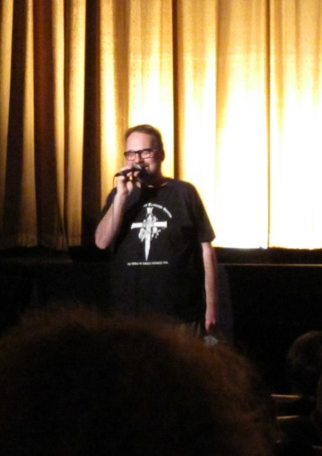 "Demarbre speaking at the 10th anniversary screening of ""Jesus Christ Vampire Hunter"" on March 25, 2011 at Ottawa's Mayfair Theatre"