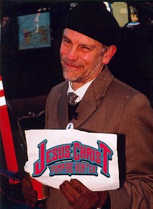 "John Malkovich plugging ""Jesus Christ Vampire Hunter"" at the Slamdance film festival in 2002"
