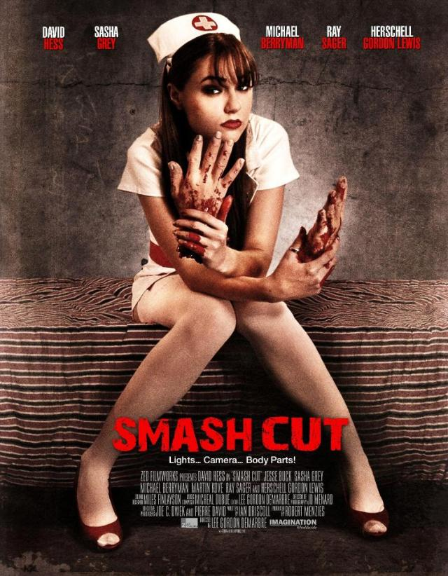 "Poster for Demarbre's film ""Smash Cut"" (2009), featuring fomer adult film actress Sasha Grey, who later appeared in Steven Soderbergh's ""The Girlfriend Experience"" and the TV show ""Entourage"""