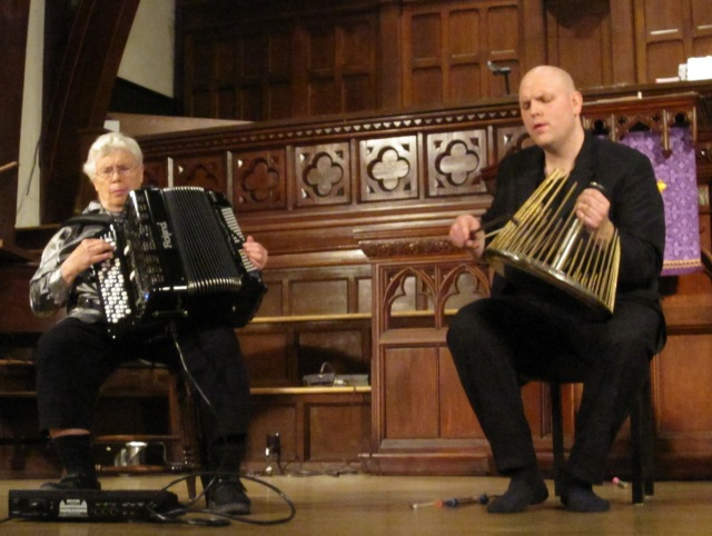 Oliveros performing on digital accordion with Ottawa percussionist Jesse Stewart in Ottawa on March 17, 2011