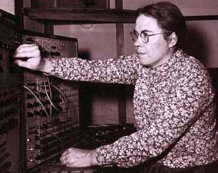 Oliveros at work in an early electronic music studio (Center for Contemporary Music Archives)