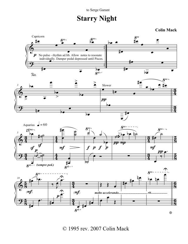 "The first page of Mack's piano composition ""Starry Night,"" completed in 1995 and dedicated to Serge Garant"