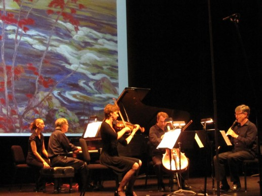 "Pianist Andrew Tunis, violinist Marcelle Mallette, cellist Julian Armour and clarinettist Kimball Sykes perform ""A Canadian Gallery"" on July 11, 2011 at Ottawa's Music and Beyond festival"