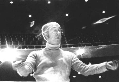 Composer Serge Garant conducting