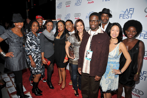 "Dortch (front right) with the cast of ""A Good Day to be Black and Sexy"" at the 2008 AFI Fest (American Film Institute film festival) (photo by Frazer Harrison)"