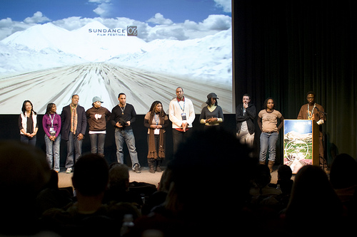 "Dortch and his cast at the first Sundance film festival screening of ""Black & Sexy"" in 2008"