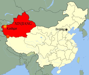 Map showing location of Kashgar, a city in the autonomous region of Xinjiang in Western China
