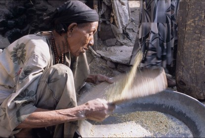 Woman winnowing Barley in Lalibela, Ethiopia (photo by Naomi Duguid)