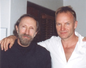 Charles Bernstein with the musician Sting, whom he interviewed in 2002
