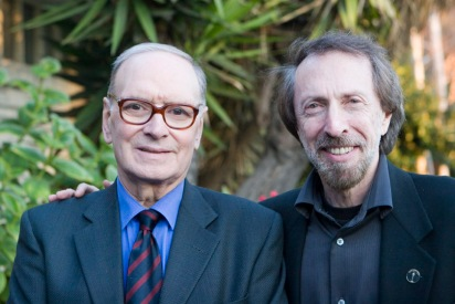 "Bernstein with the Italian film composer Ennio Morricone, whose credits include ""The Good, The Bad and the Ugly,"" ""The Mission"" and ""The Untouchables."" Bernstein interviewed Morricone in 1994 for his book ""Movie Music: An Insider's View"""