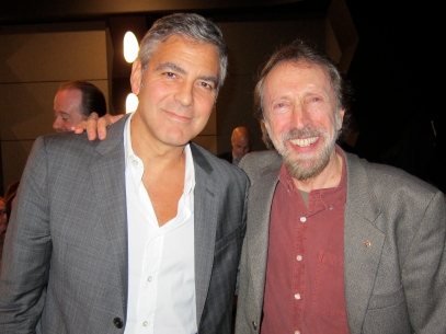 Bernstein with actor George Clooney after interviewing him publicly in 2011