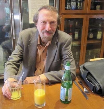 Charles Bernstein just before his Nov. 13, 2011 interview at La Bottega Marino Cafe on Santa Monica Blvd. in Los Angeles