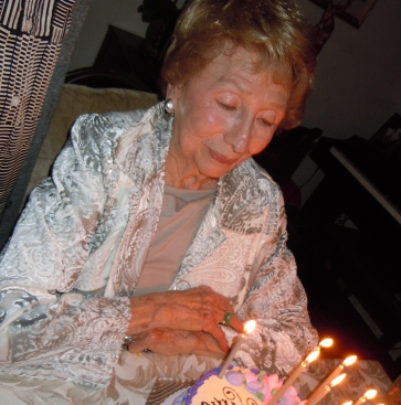 Charles Bernstein's mother, Mildred Wolf, celebrating her 100th birthday in 2010