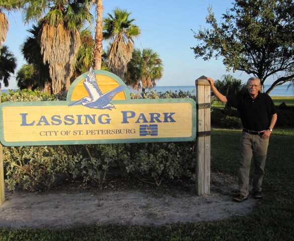 Peter Meinke at Lassing Park in St. Petersburg, Florida on Dec. 23, 2011. The park inspired a poem of the same name.