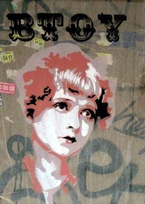 Silent film star Clara Bow as portrayed in street art by BTOY (photo by BTOYandrea, Flickr Creative Commons, June 8, 2008)