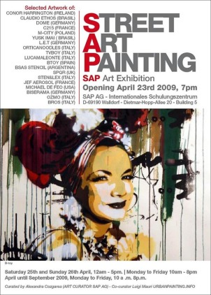 A painting by BTOY is featured on a poster for a Barcelona street art painting exhibit  (photo by www.urbanpainting.info, Flickr Creative Commons, March 3, 2009)