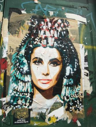 A photograph of Elizabeth Taylor as Cleopatra inspired this street art work by BTOY in London, England  (photo by Mermaid99, Flickr Creative Commons, May 6, 2009)
