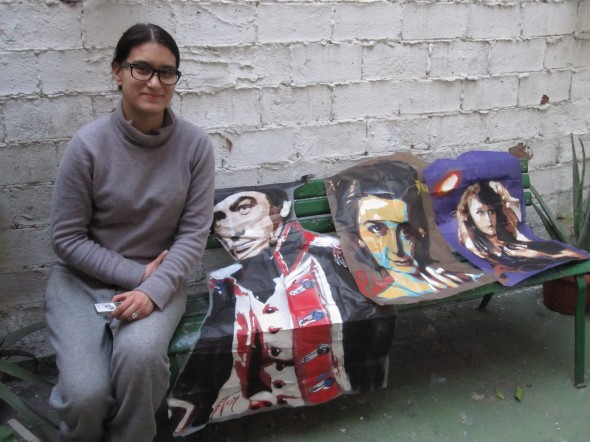 BTOY (Andrea Michaelsson) on the terrace of her Gracia Barcelona studio with her stencil works of Gary Cooper, Natalie Wood and Dolores Costello (photo by Anita Malhotra, February 24, 2012)