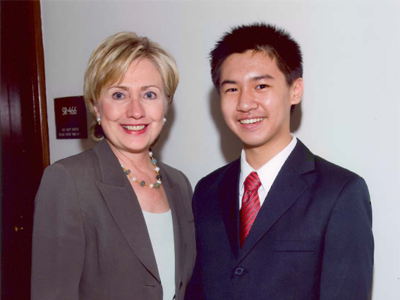 Tao with Hillary Clinton on September 24, 2008 after he was named a Davidson Fellow Laureate (photo from the Davidson Institute for Talent Development)