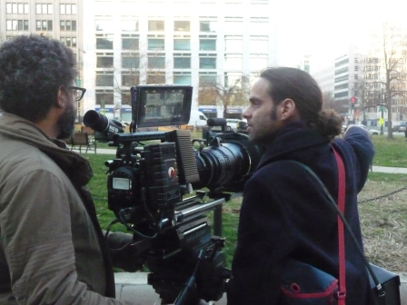 Arthur Jafa (left), the director of photography for Shadows Of Liberty, and Tremblay on set with the RED camera in Washington D.C. in 2011 (photo courtesy of Jean-Philippe Tremblay)