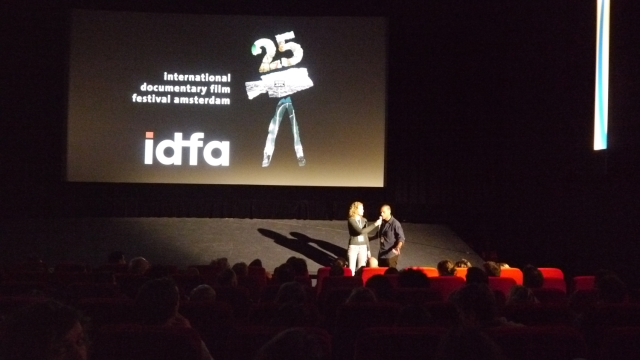Tremblay answering audience questions at the 2012 edition of IDFA (International Documentary Film Festival Amsterdam)