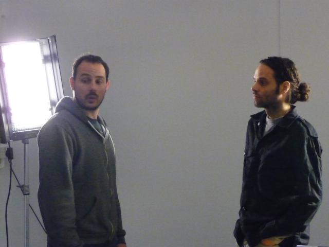 "Tremblay with David Rom (left), additional director of photography, working in a London, UK studio in 2012 on ""pick-up"" shots for Shadows of Liberty (photo courtesy of Jean-Philippe Tremblay)"
