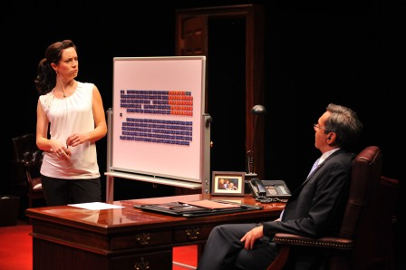 "Jenny Young is a rookie Quebec Member of Parliament and Michael Healey is the Canadian Prime Minister in ""Proud"" at the Great Canadian Theatre Company (photo courtesy of GCTC/Andrew Alexander)"