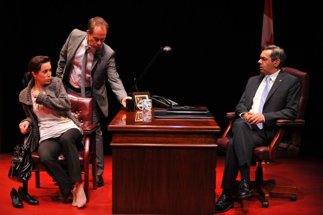 "Jenny Young, Tom Barnett (playing the Chief of Staff) and Michael Healey in ""Proud"" (photo courtesy of GCTC/Andrew Alexander)"