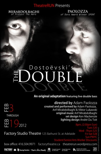 "Poster for the 2012 production of ""The Double"" at Factory Studio Theatre in Toronto."