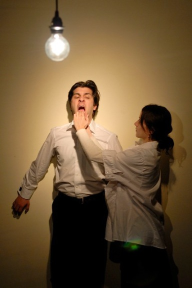 "Paolozza and Coleen MacPherson in Paolozza's 2011 work ""Artaud: un portrait en décomposition,"" a co-production with Théâtre Français de Toronto (photo by Marc Lemyre)"