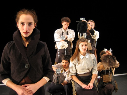 "A still from ""Russian Doll"" created and performed in 2004 by Adam Paolozza, Molly Feingold, Martine Eichenberger, Anne Sorce, Sophie Fletcher and Jimmy Garver (photo by Bertold Weisner)"
