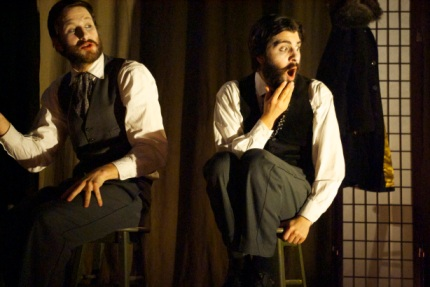 "Viktor Lukawski and Paolozza in Paolozza's adapation of Dostoyevsky's novella ""The Double"" (photo by Lacey Creighton)"