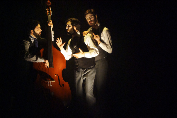 "Arif Mirabdolbaghi, Adam Paolozza and Viktor Lukawski in Paolozza's adapation of Dostoyevsky's ""The Double"" (photo by Lacey Creighton)"