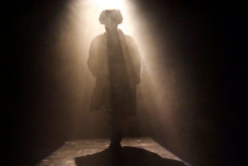 """Adam Paolozza in his adaptation of Dostoyevsky's """"The Double"""" (photo by Lacey Creighton)"""
