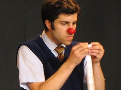 "Paolozza as a clown in ""Tools,"" a 2008 co-production with Why Not Theatre also featuring Ravi Jain and Katrina Bugaj (photo by Bertold Weisner)"