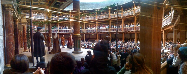 "Shakespeare's ""King Lear"" being performed at Shakespeare's Globe Theatre in London (photo by Cédric Hüsler, Flickr Create Commons, May 3, 2008)"