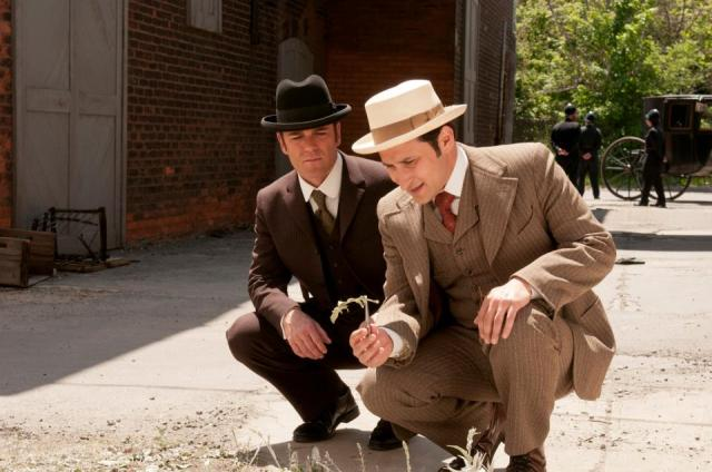 Yannick Bisson (as Det. Murdoch) and Raoul Bhaneja (as Dr. Sanjay Prasad) in the Canadian television series Murdoch Mysteries (photo by Christos Kalohoridis, 2013)