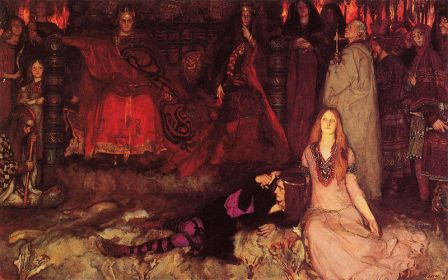 """Hamlet and Ophelia in the foreground of the Play Scene from """"Hamlet"""" as painted by Edwin Austin Abbey in 1897 (public domain photo from Wikimedia Commons)"""