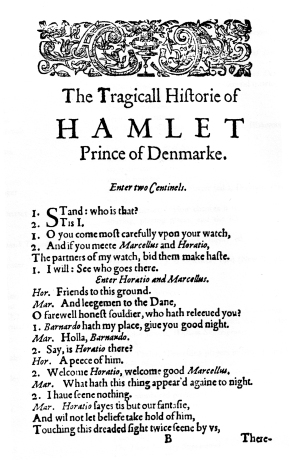 "The first page of ""Hamlet"" from the first quarto version (1603) (public domain photo from Wikimedia Commons)"