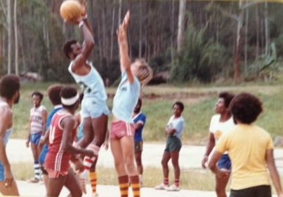Eric Stotik playing basketball in Wapenamanda, Enga Province, Papua New Guinea in 1979, before moving to Portland, OR to attend the Pacific Northwest College of Arts (photo courtesy of Eric Stotik)