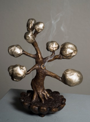 "A bronze incense burner from Conkle's 2012 show ""Tree Clouds"" (photo by Marne Lucas)"