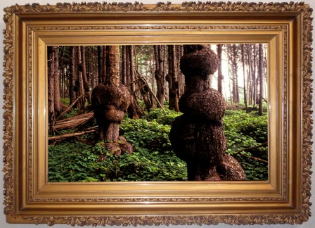 """Burl Forest"" (digital C-print), a 2009 eco-baroque work from ""Warlord Sun King"" by Bruce Conkle and Marne Lucas (photo by Marne Lucas)"