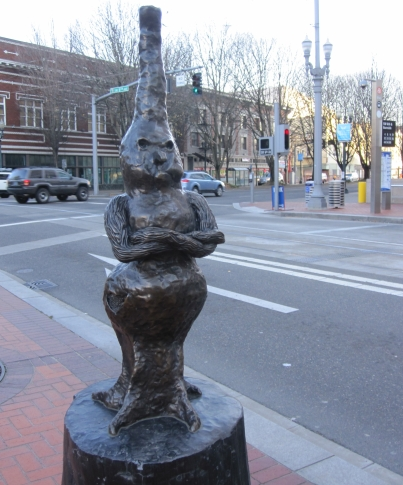 "One of three sculptures in Conkle's ""Burls will be Burls,"" commissioned for Portland's TriMet/MAX Light Rail line in 2009 (photo by Anita Malhotra)"