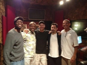 Barbarin (extreme right) in the recording studio with Arthur Latin, Leroy Jones, Harry Connick, Jr. and Neal Caine (photo courtesy of Lucien Barbarin)